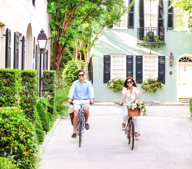 Riding bikes through the Charleston Historic District