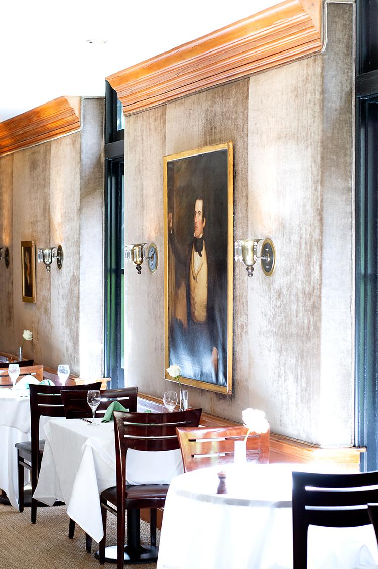 The famed velvet walls at Peninsula Grill restaurant in Charleston S.C.