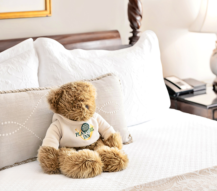 Teddy bear amenity at Planters Inn Charleston hotel